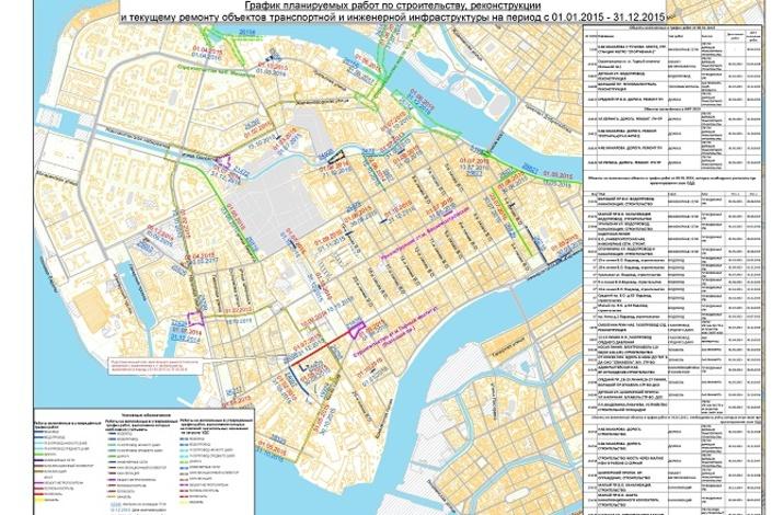 Схема движения автотранспорта по васильевскому острову